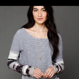 Free people striped patch sleeves sweatshirt